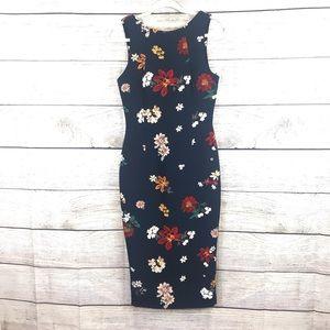 Zara floral midi dress in size small